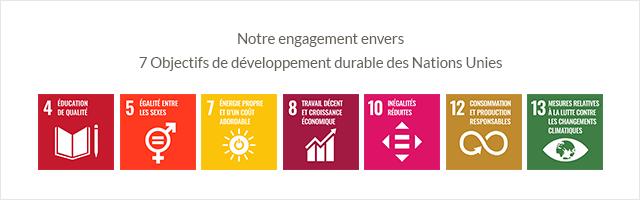 Notre engagement envers 7 ODD des Nations Unies
